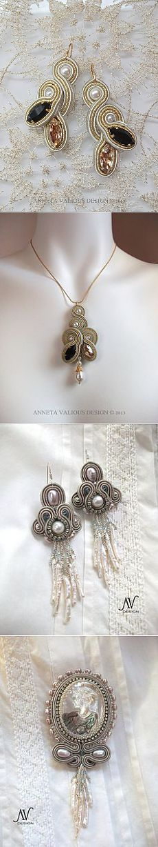 "(9) Soutache embroidered earrings ""Champs-Elysees"""