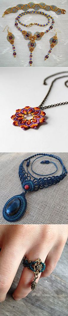 Micro Macrame PATTERN - Fans Necklace Earrings and Bracelet